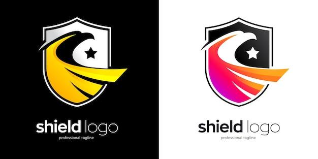 Adler-schild-logo-design in zwei variationen