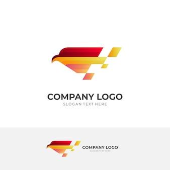 Adler-tech-logo, adler und pixel, kombinationslogo mit buntem 3d-stil