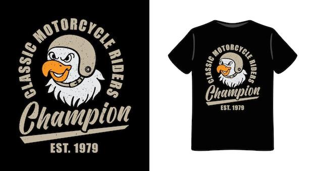 Adler tragen retro helm illustration mit typografie t-shirt design