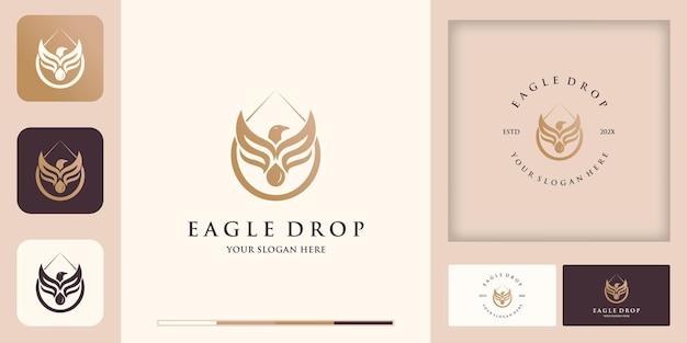 Adler-tropfen-kombinationslogo und visitenkarten-design