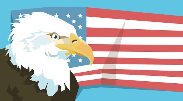 Adler über den vereinigten staaten von amerika-flaggen-vektor-illustration
