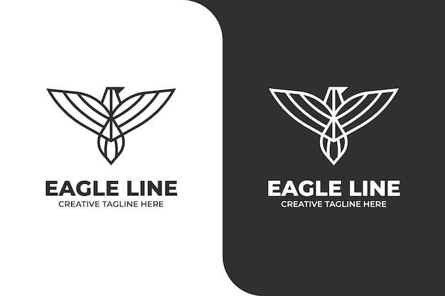 Adler-vogel in einem einzeiligen logo-geschäft