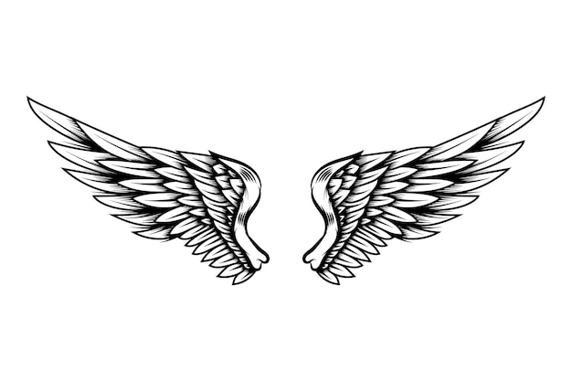 Adlerflügel im tattoo-stil isoliert auf weißem hintergrund. gestaltungselement für poster, t-shirt, karte, emblem, zeichen, abzeichen. vektor-illustration