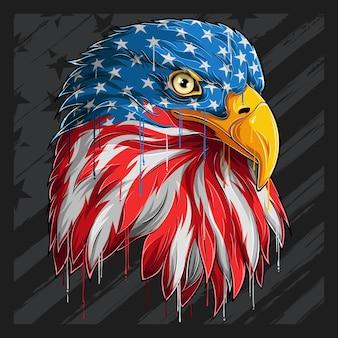 Adlerkopf mit amerikanischem flaggenmuster. unabhängigkeitstag, veteranentag 4. juli und gedenktag