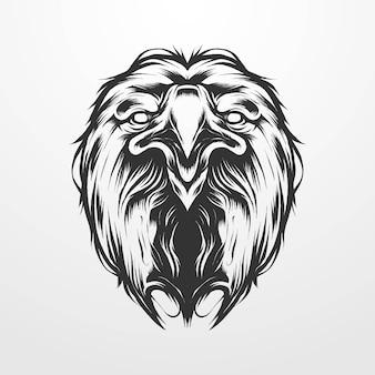 Adlerkopf-vektor-illustration im vintage-isolierten klassischen monochromen stil, alt. geeignet für t-shirts, drucke, logos und andere bekleidungsprodukte