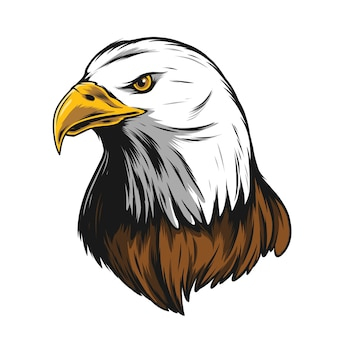 Adlerkopfillustration mit schwarzem umriss