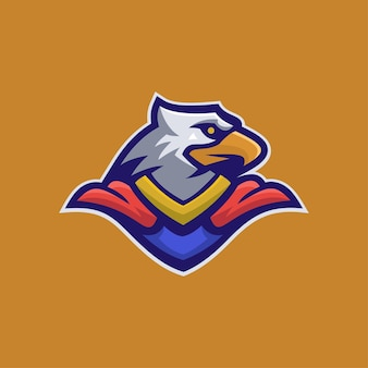 Adlerkopfkarikaturlogoschablonenillustration. esport logo spiel premium-vektor