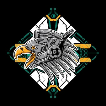 Adlerkopfroboter mit einer cyberpunk-hintergrundillustration