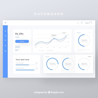 Admin-dashboard-panel mit flachem design