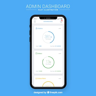 Admin-dashboard-vorlage mit flaches design