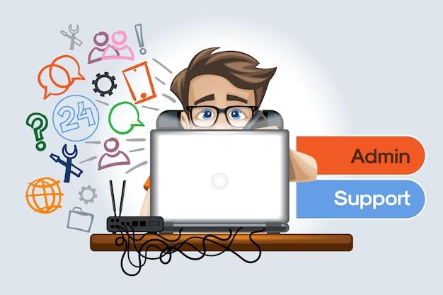Admin-support für kunden von unternehmen und büros online und nicht nur rund um die uhr support und überwachung, fehlerbehebung.