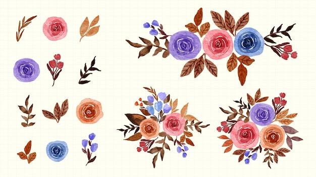 Adobe illustrator artworkhandgemalte aquarellillustrationen bouquet floral botanische clipart. satz blätter, kräuter und zweige.