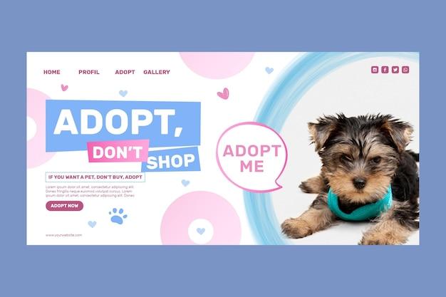 Adoptiere ein haustier, kaufe keine landingpage-vorlage