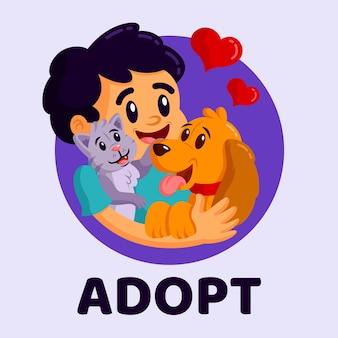 Adoptiere ein haustier mit dem besitzer