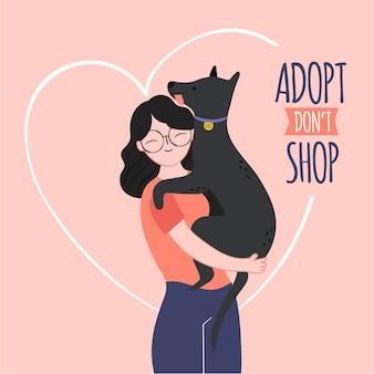 Adoptiere ein haustier mit frau und hund