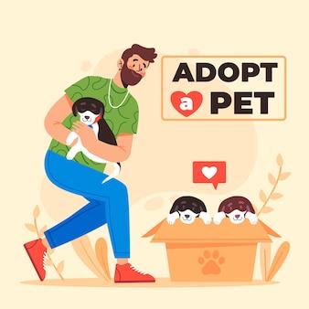 Adoptiere ein haustier mit mann und hunden