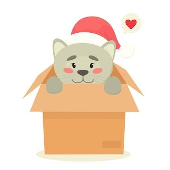 Adoptiere ein haustier - süße katze in einer schachtel, lang erwartetes weihnachtsgeschenk, haustier.