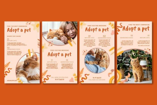 Adoptiere ein instagram-geschichtenset für haustiere pet