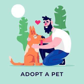 Adoptiere einen haustier besten freund und mann