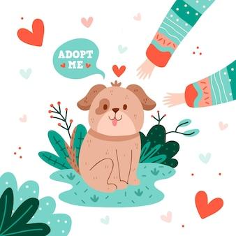Adoptiere einen haustierwelpen, der haustier ist