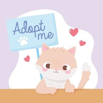 Adoptieren sie ein haustier, niedliches kleines kätzchen mit plakat und herzillustration
