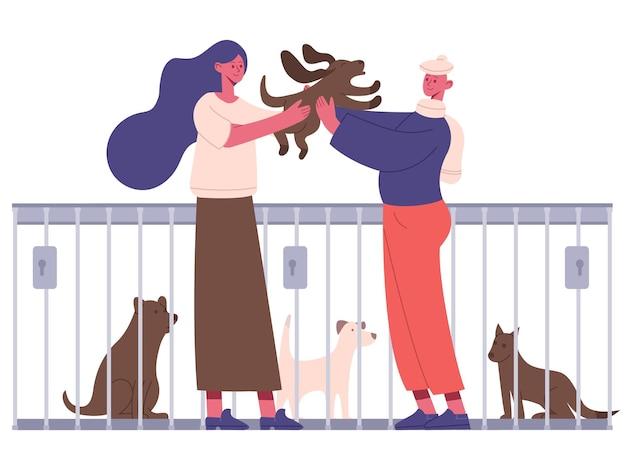 Adoption von haustieren. menschen, die hund aus tierheim adoptieren, glückliche neue besitzer, die welpen umarmen