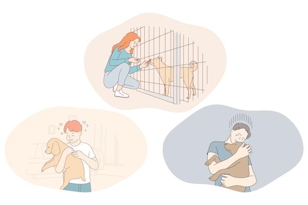 Adoptionshunde aus dem tierheim, freiwilligenarbeit und hilfe für haustiere konzept.