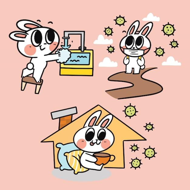 Adorable cute lovely bunny aktivitäten in corona times simple doodle illustration covid-19 kampagnenkonzept