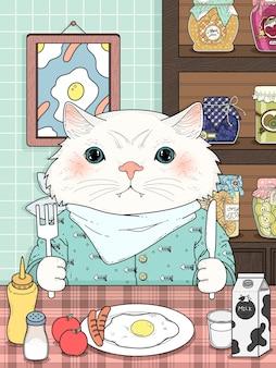 Adorable kitty hat seine frühstück erwachsenen malvorlagen