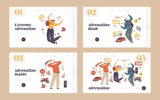 Adrenalin-aktivität, sport recreation landing page template set. charaktere extreme freizeit. fallschirmspringen, auto- und motorradrennen, achterbahn-park-attraktion. lineare menschen-vektor-illustration