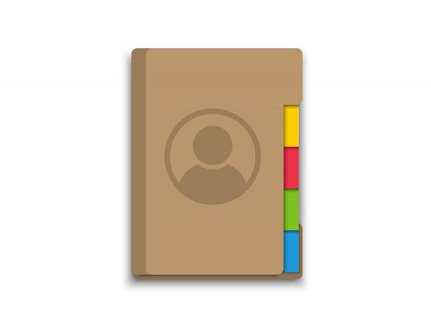 Adressbuch. buch der kontakte. symbol für die anwendung auf dem telefon oder laptop.