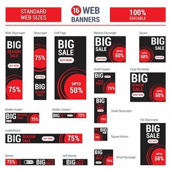 Adsense red big sale banner alle größe Kostenlosen Vektoren