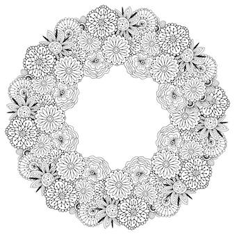 Adult malbuch seite. vektorrahmen mit abstraktem blumenmuster. florales design für deckendekoration oder verpackung