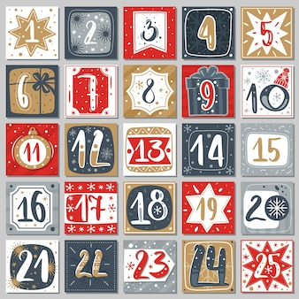 Adventskalender dezember. weihnachtsplakat countdown druckbare tags nummerierte poster mit weihnachtsornament rot, blau und goldfarben, winterpostkartenvektor kreative vorlage