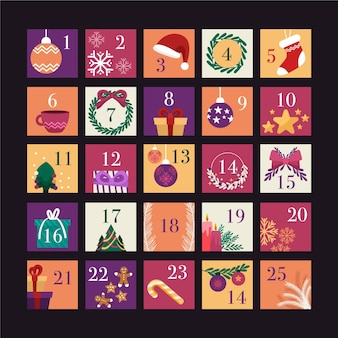 Adventskalender in flachem design