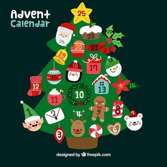 Adventskalender in form eines weihnachtsbaumes