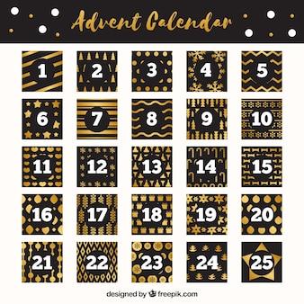 Adventskalender in schwarz und golden