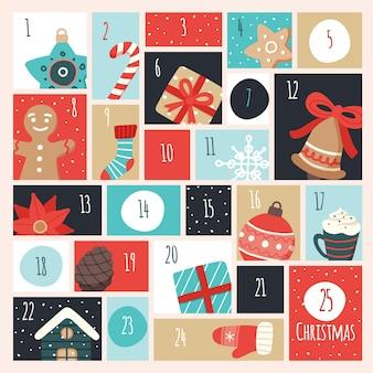 Adventskalender mit weihnachtselementen.