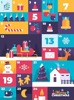 Adventskalender mit weihnachtselementen