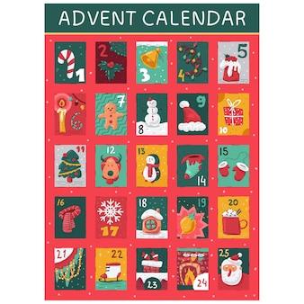 Adventskalender mit weihnachtselementkarikaturillustration