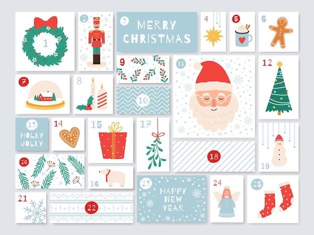 Adventskalender weihnachten. dezember-tage-countdown mit geschenken. feiertags-handwerkskalender mit zahlen- und kästenvektorschablone. illustration weihnachtswinterkarte, dezember kalendercountdown