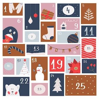 Adventskalender weihnachten. druck zum verpacken von süßigkeiten, kinderzeitschrift, aufklebern, postern. erwartung der katholischen winterferien. vektorillustration, flach