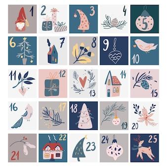 Adventskalender weihnachten. weihnachtsplakat im skandinavischen stil. vektor handgezeichnete elemente. niedliche winterillustration für karte, poster, kinderzimmerdekor, kinderzimmerkunst.