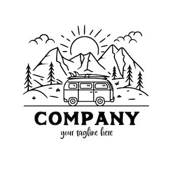 Adventure line art, trip car landschaft, outdoor adventure trip mit car line style