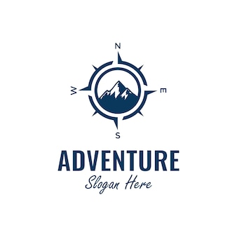Adventure logo design inspiration mit kompass und bergelement, Premium Vektoren