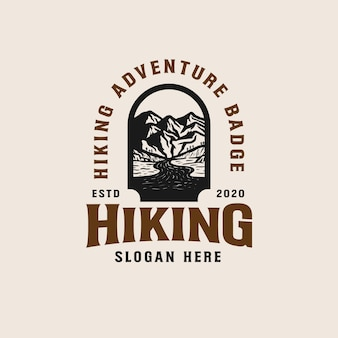 Adventure mountain badge logo vorlage