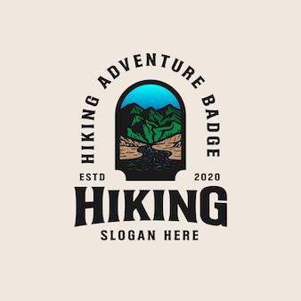 Adventure mountain badge logo vorlage