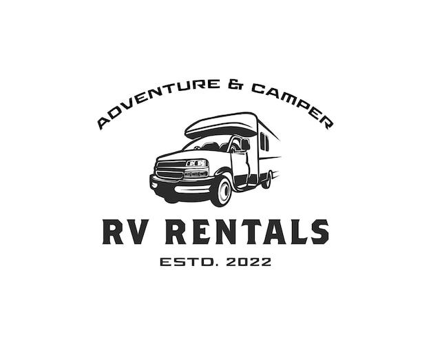 Adventure rv camper car logo rv rental und tour logo designs vorlage