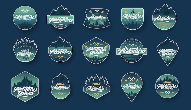 Adventure schriftzug set abzeichen und embleme mit farbverlauf