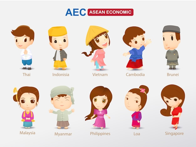Aec karikatur im asiatischen kostüm
